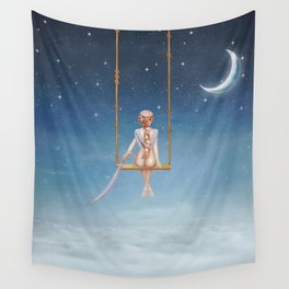 The lovely girl shakes on a swing Wall Tapestry