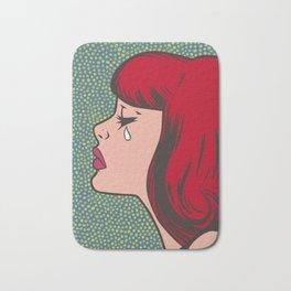 Little Red Head Sad Girl Bath Mat