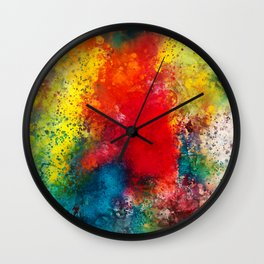 On the bright side - Colorful abstract watercolor Wall Clock