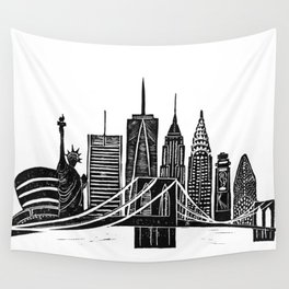 Linocut New York Wall Tapestry