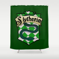 slytherin Shower Curtains featuring Slytherin Crest by AriesNamarie