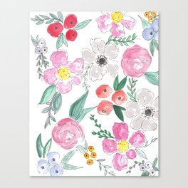 Floral Peony and Rose Watercolor Print  Canvas Print
