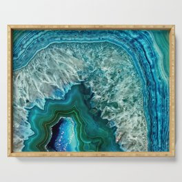 Aqua turquoise agate mineral gem stone Serving Tray