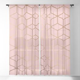Pink and Gold Geometry 011 Sheer Curtain