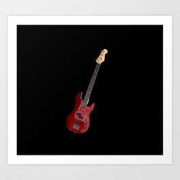 Bass guitar in cherry-colored wood on a black background Art Print