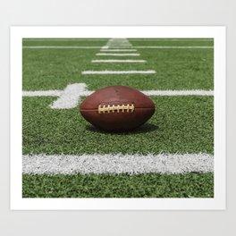 American Football Court with ball on Gras Art Print