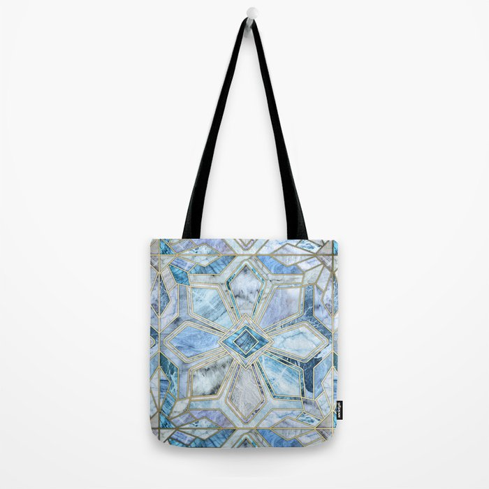 Geometric Gilded Stone Tiles in Soft Blues Tote Bag