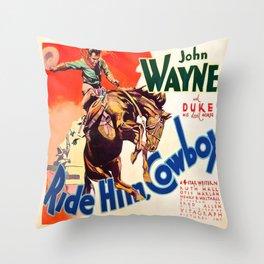 John Wayne Ride Em Cowboy Vintage Movie Poster Print Throw Pillow