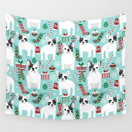 French Bulldog festive holiday pet portrait for frenchie owner pet friendly dog illustration Wall Tapestry