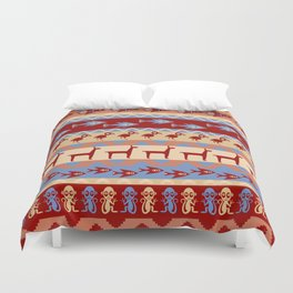 Inca Animals Fish and Birds Pattern Duvet Cover