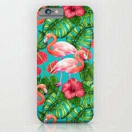 Flamingo birds and tropical garden          watercolor iPhone Case