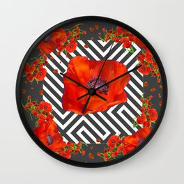 AWESOME GREY GRAPHIC ART YELLOW-RED POPPIES GARDEN Wall Clock