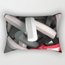 Pile of black, white and red hexagon details Rectangular Pillow
