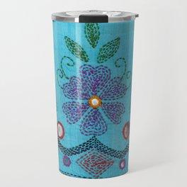 Kantha Fabric Art On Turquoise Pure Silk Travel Mug