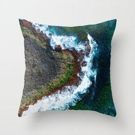 Waves and Rocks of Belowla Island Throw Pillow