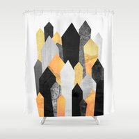 minerals Shower Curtains featuring Black & Yellow Crystals by Elisabeth Fredriksson