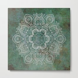 Silver White Floral Mandala on Green Textured Background Metal Print