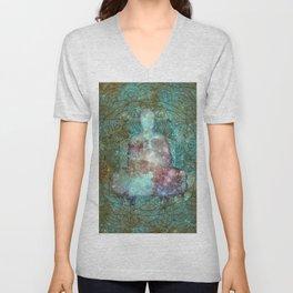 Watercolor Mandala Buddha in Galaxy Unisex V-Neck