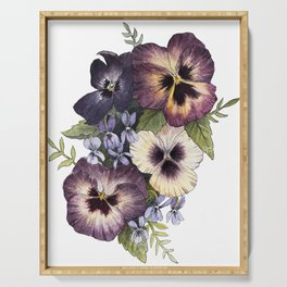 Watercolor Pansy Bouquet Serving Tray