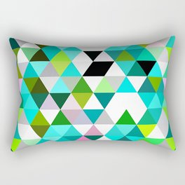 Chic Bright Pink Turquoise Lime Green Colors Funky Retro Triangles Mosaic Pattern Rectangular Pillow