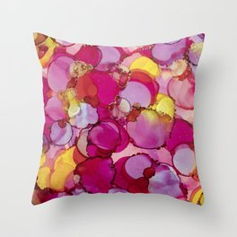 Bed of Roses Alcohol Ink Painting Throw Pillow