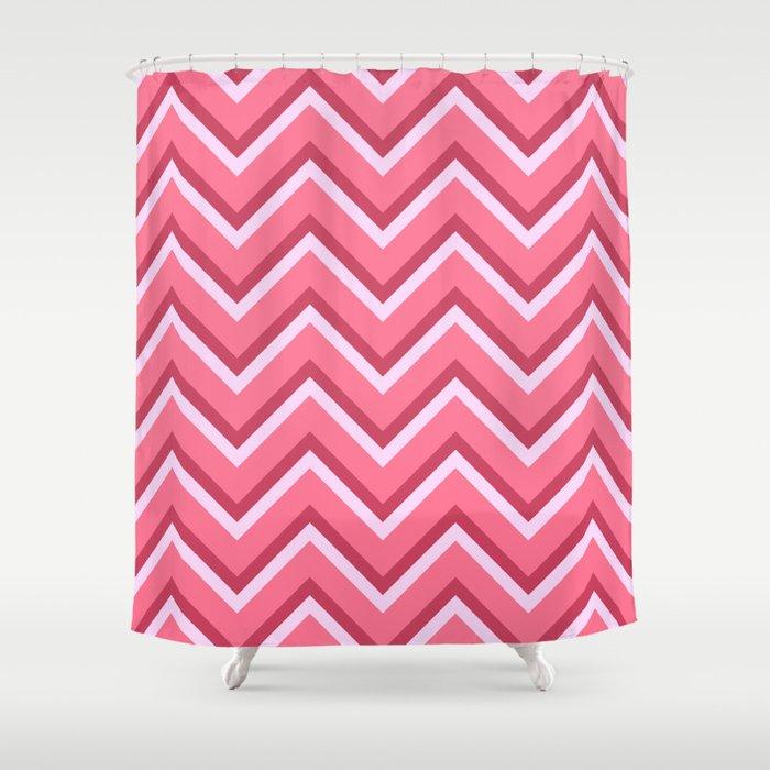 Pink Zig Zag Pattern Shower Curtain