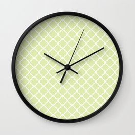 Modern pastel green white moroccan quatrefoil pattern Wall Clock