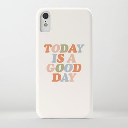 TODAY IS A GOOD DAY peach pink green blue yellow motivational typography inspirational quote decor iPhone Case