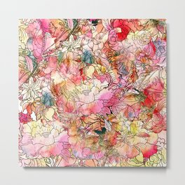 Summer Flowers | Colorful Watercolor Floral Pattern Abstract Sketch Metal Print