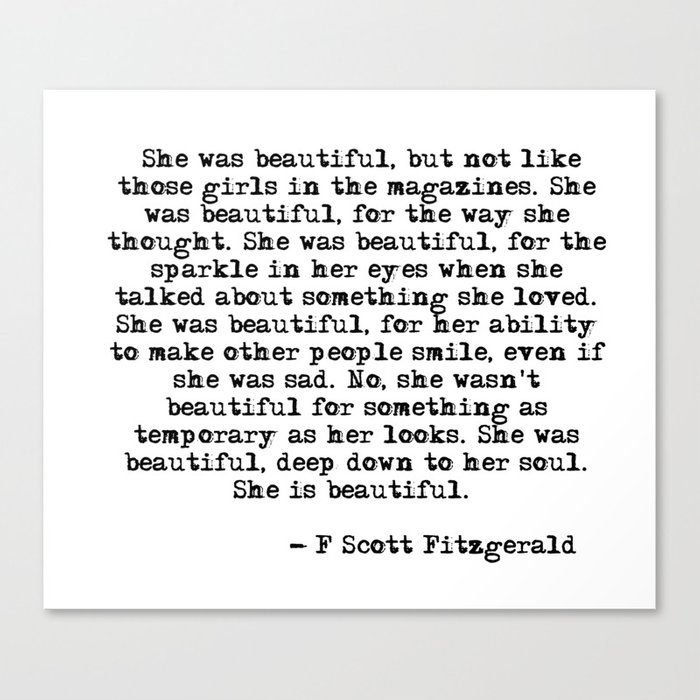 She was beautiful - Fitzgerald quote Canvas Print