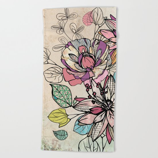 Paper Flowers #6 Beach Towel