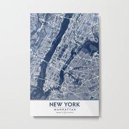 Classic Blue Manhattan Map, New York City Metal Print