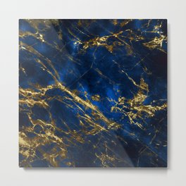 Exquisite Blue Marble With Luxury Gold Veins Metal Print