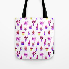 Hand painted magenta pink lilac yellow watercolor cactus floral Tote Bag