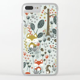 Rustic  Woodland Animals Clear iPhone Case