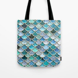 Multicolor aqua mermaid scales - Beautiful abstract glitter pattern Tote Bag