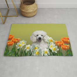 Poodle Dog sitting in field of white daffodils Rug