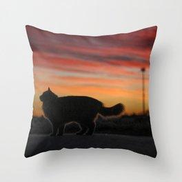 Siberian cat sunset Throw Pillow