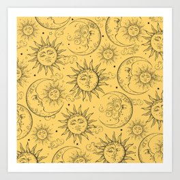 Yellow Magic Celestial Sun Moon Stars Art Print
