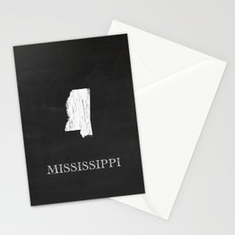 Mississippi State Map Chalk Drawing Stationery Cards