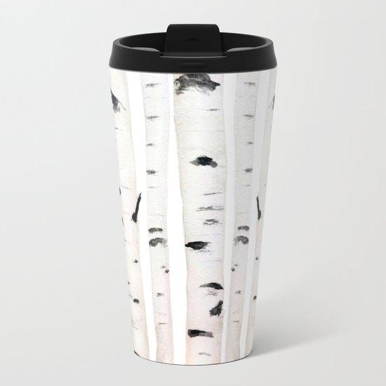 birch  watercolor Metal Travel Mug