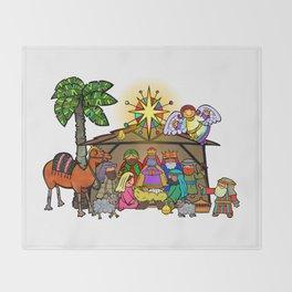 Christmas Nativity Cartoon Doodle Throw Blanket