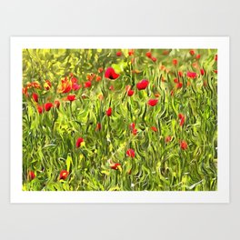 Surreal Hypnotic Poppies Art Print