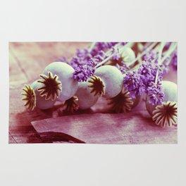 Opium poppy capsule Lavender flower still life Rug