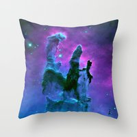 nebula Throw Pillows featuring Nebula Purple Blue Pink by 2sweet4words Designs