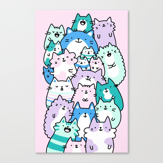 Pastel Pile of Cats Canvas Print