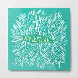 Pardon My French – Gold on Turquoise Metal Print