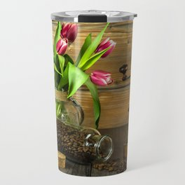 Coffee Grinder plus Jar of Beans and Tulips Travel Mug