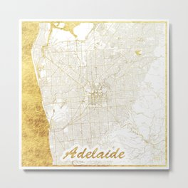 Adelaide Map Gold Metal Print