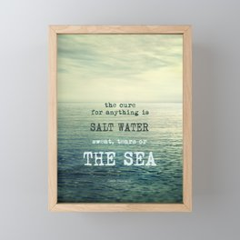 The cure for anything is salt water, sweat, tears, or the sea.    Dinesen Framed Mini Art Print